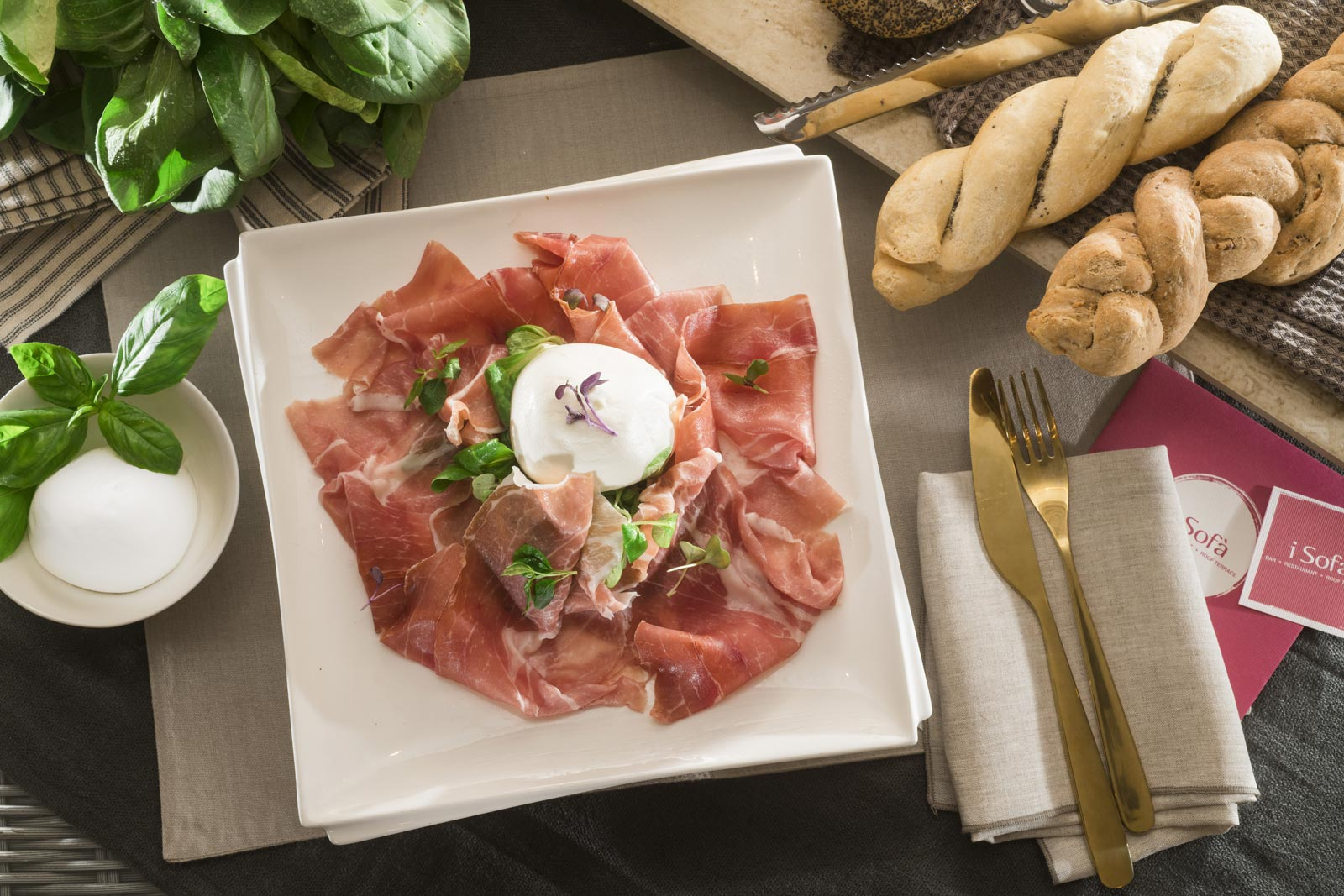 Parma ham and buffalo mozzarella
