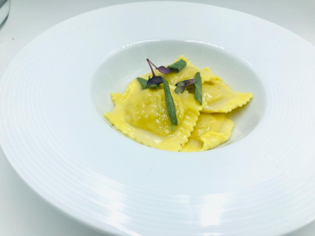 Ravioli with grouper, butter, sage